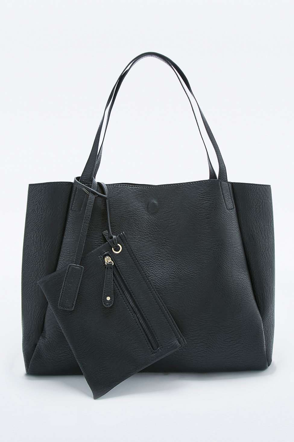 5c4f82ef34b8 Modern Black Vegan Leather Tote Bag   Pay day treats   Pinterest ...