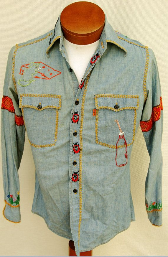 a309b729 Vintage 70s Levis Embroidered Hippie Shirt Mens S by RipCityRetro