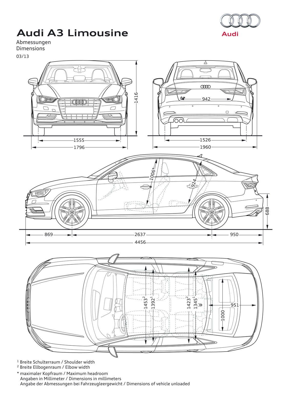 Audi S3 Sedan 03/13 | Blueprints | Pinterest