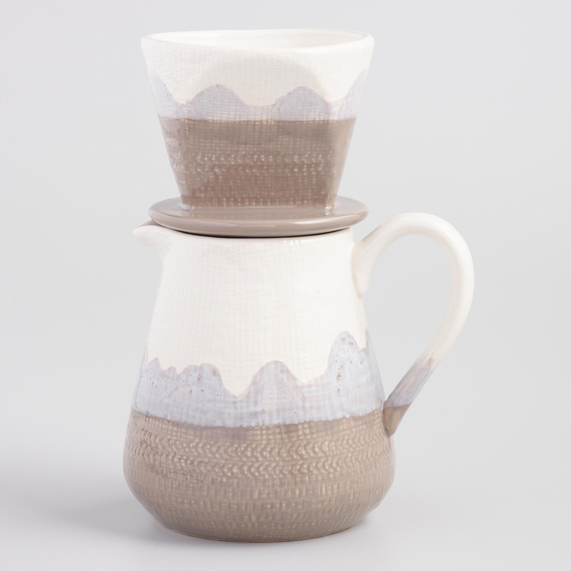 Large Gray Reactive Glaze Ceramic Pour Over Coffee Maker