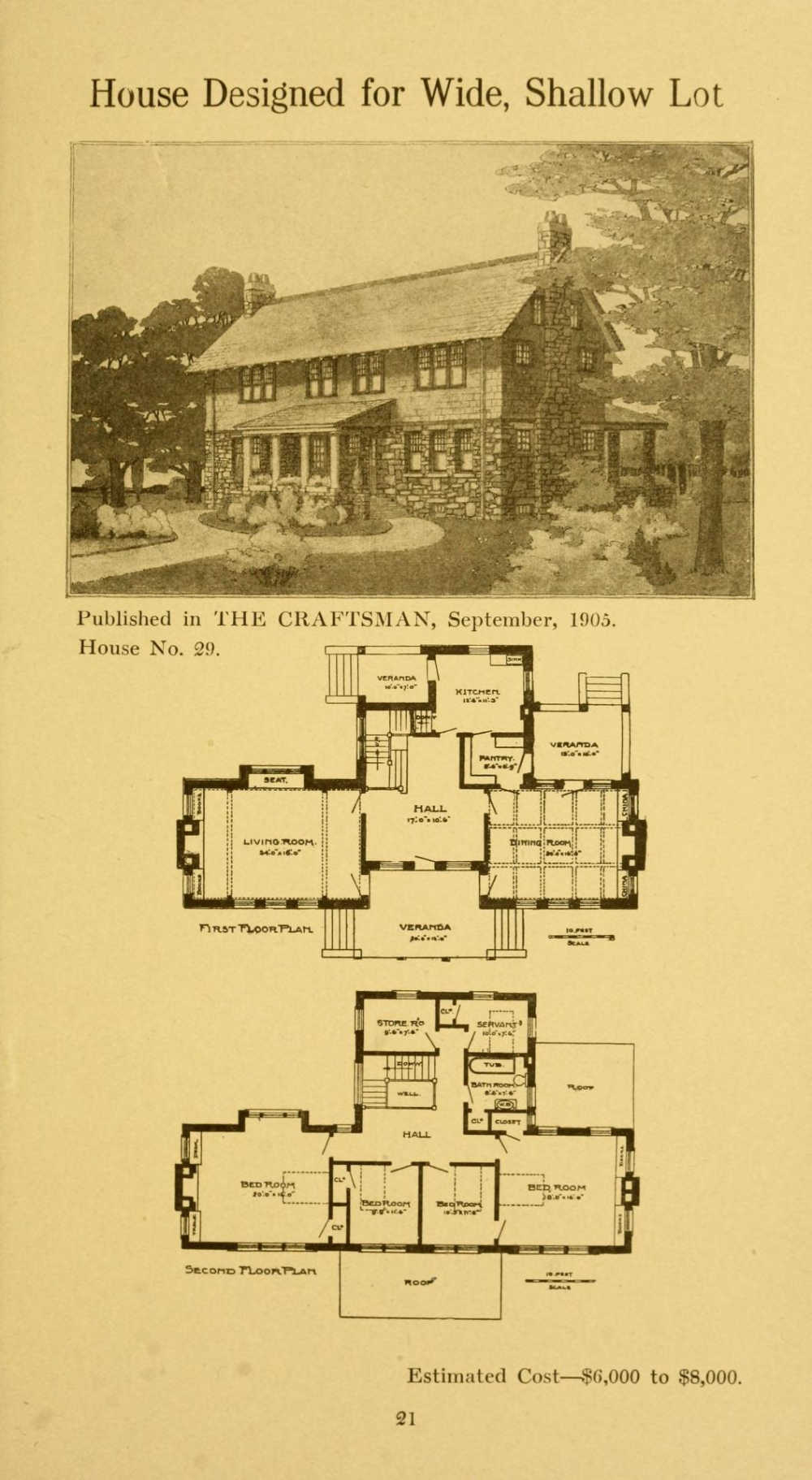 Twenty Four Craftsman Houses With Floor Plans Stickley Gustav 1858 1942 Free Download Borrow And Str Sims House Plans Vintage House Plans Floor Plans