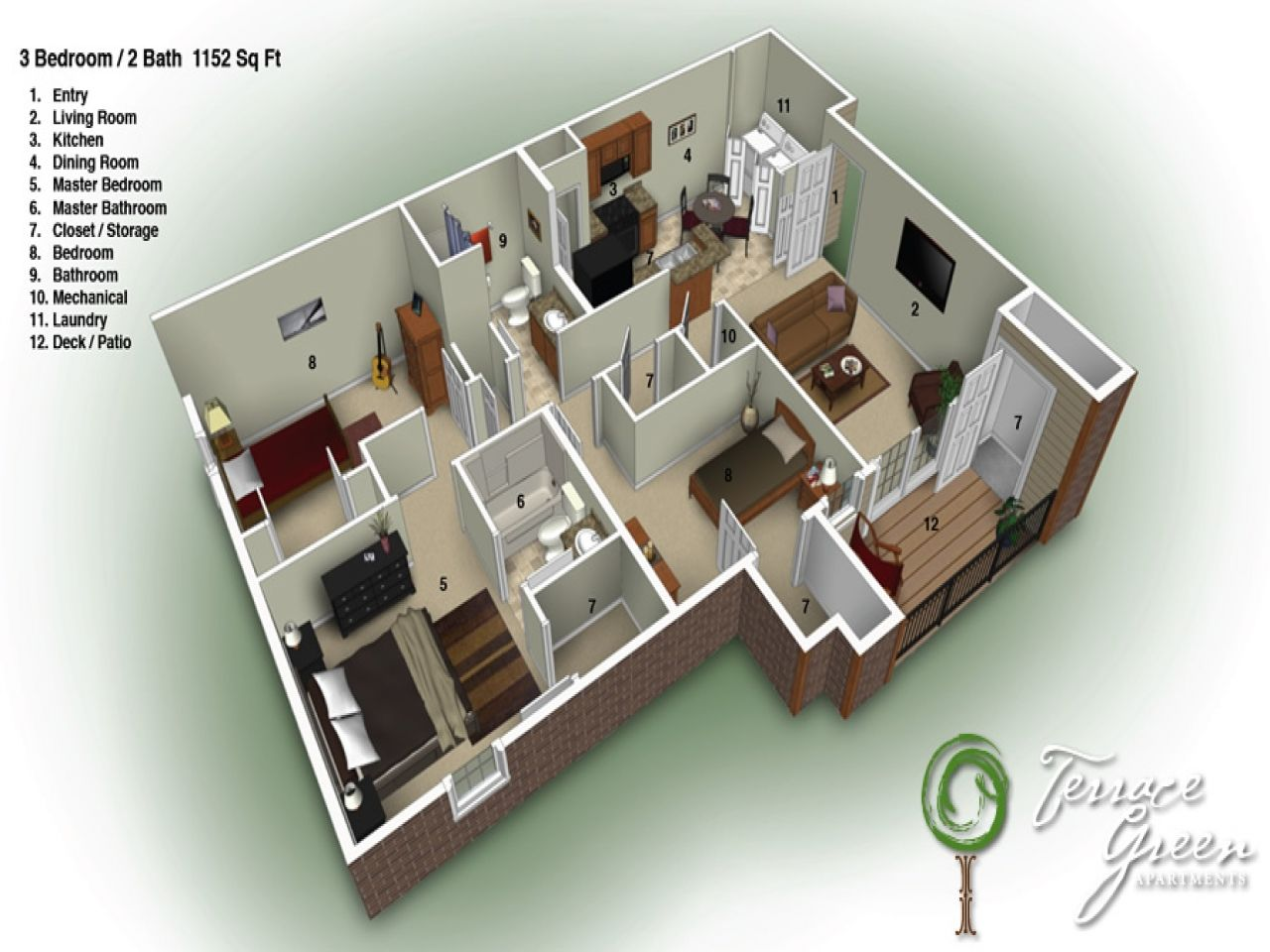 3 Bedroom Design Perfect 3 Bedroom 2 Bath 35 In With 3 Bedroom 2 Bath  Aldy Milton