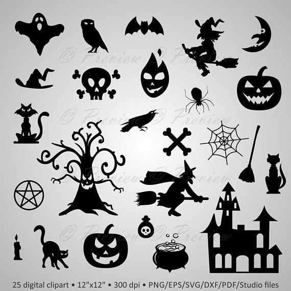 Buy 2 Get 1 Free! Digital Clipart Halloween Silhouettes