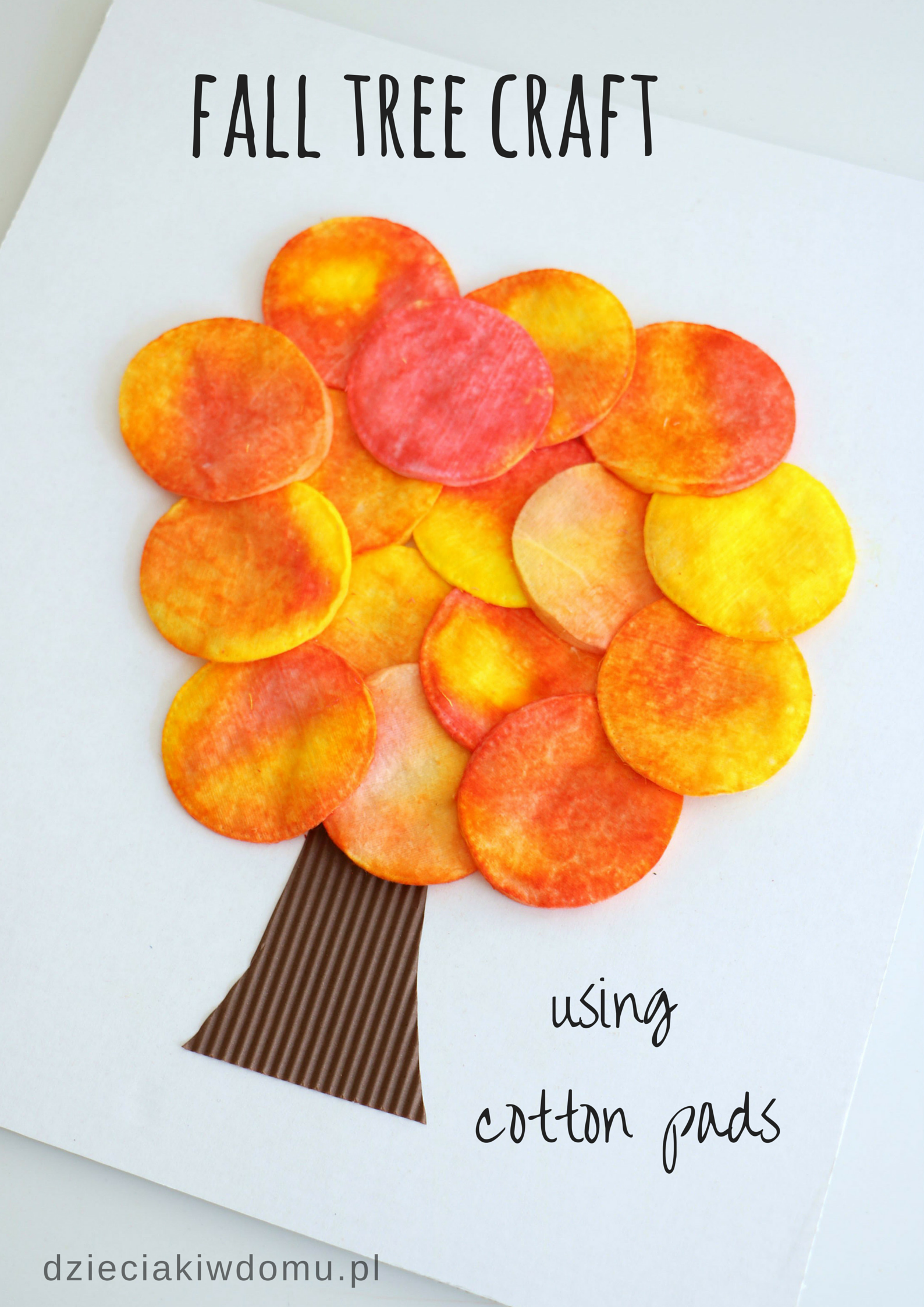Fall Tree Craft Using Cotton Pads