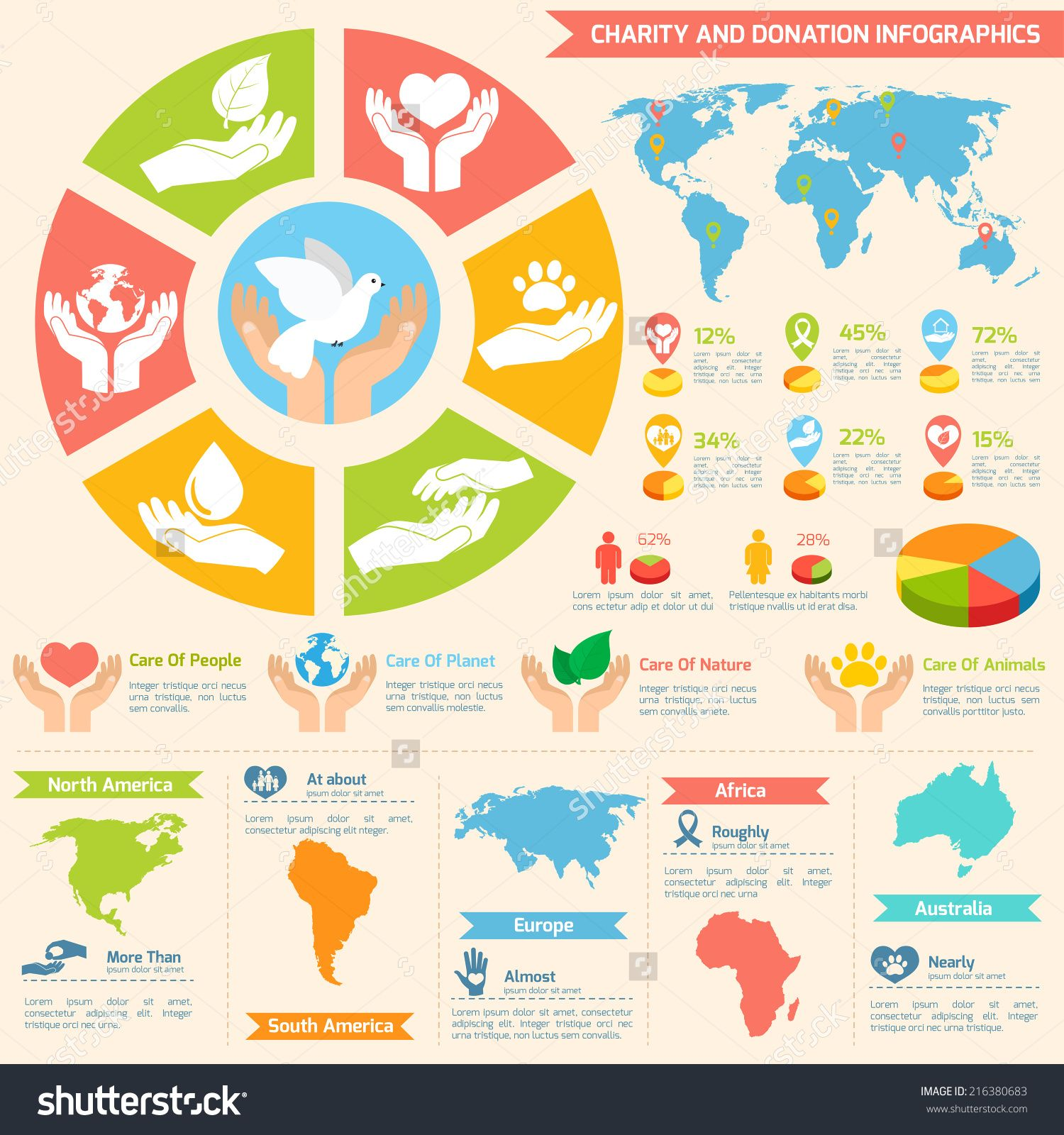 Stock vector charity donation social services and volunteer charity donation social services and volunteer infographic set with charts and world map isolated vector illustration gumiabroncs Gallery