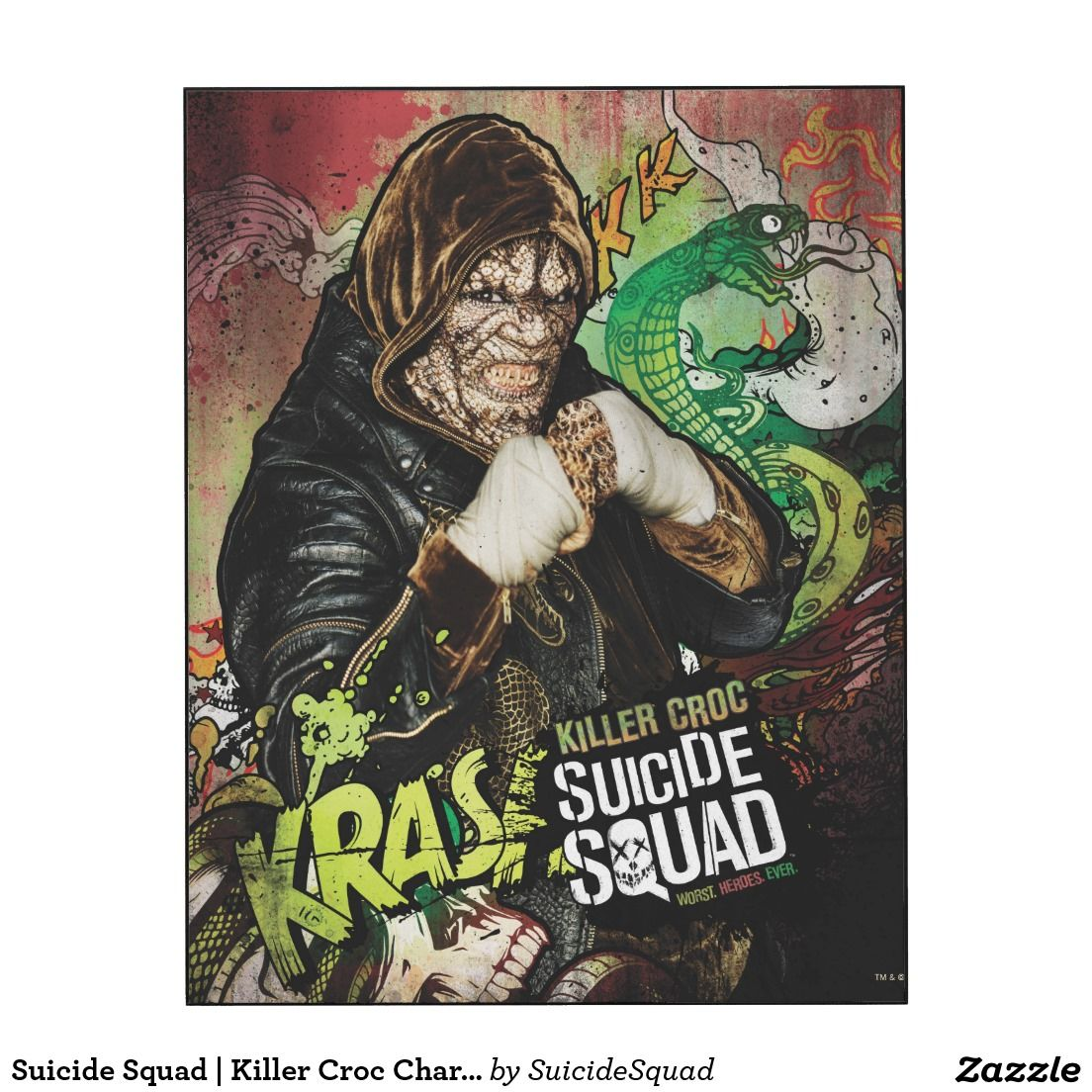 Suicide squad killer croc character graffiti wood wall art more
