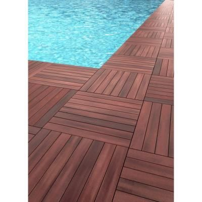 2 Ft X 2 Ft Abaco Tropical Hardwood Deck Tile 175139 The Home Depot Deck Tile Hardwood Decking Deck Tiles