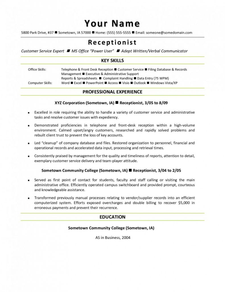 Resume Examples Office Medical Receptionist Resume