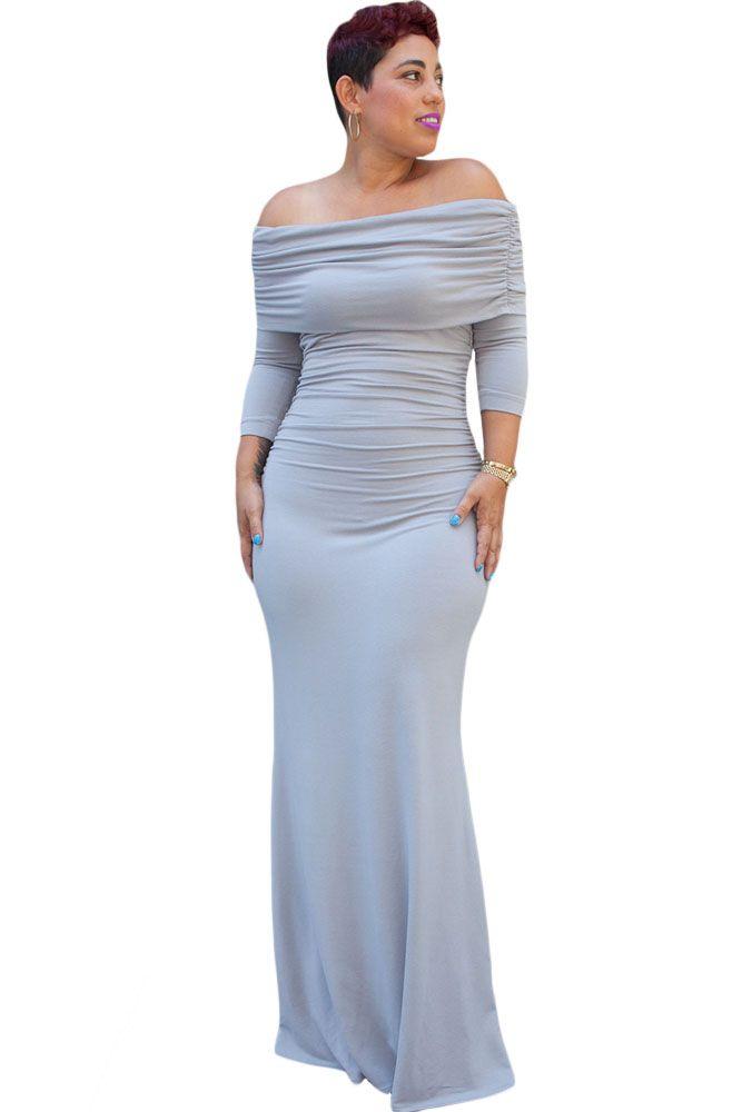 Gray Off the Shoulder Maxi Dress