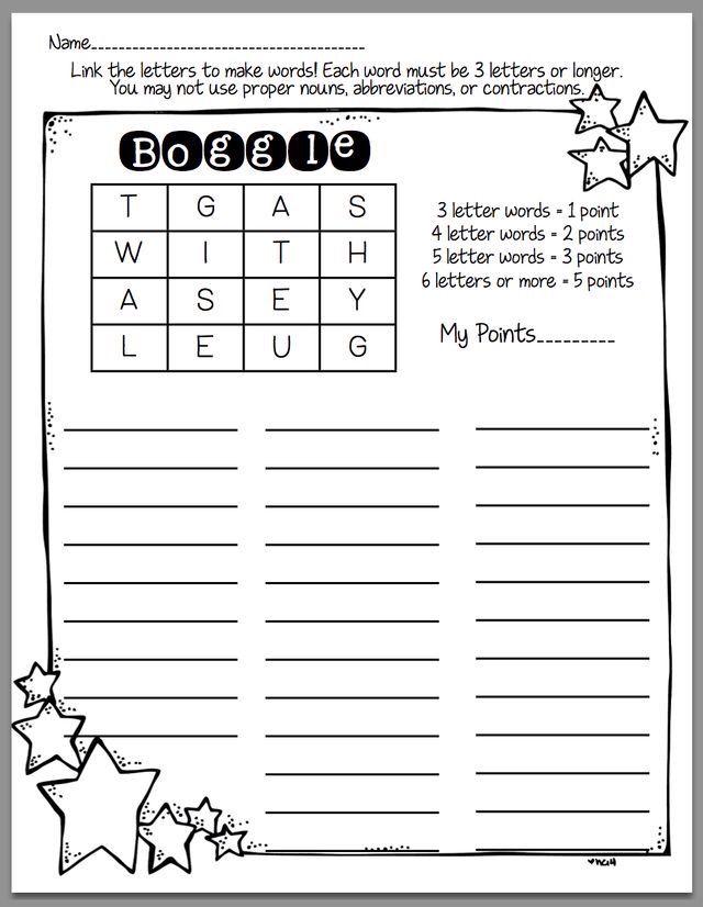 Boggle | Printable kids' education | Word work, Word work