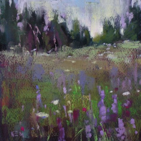 New 6x6 Landscape...A Meadow in Maine, original painting by artist ...