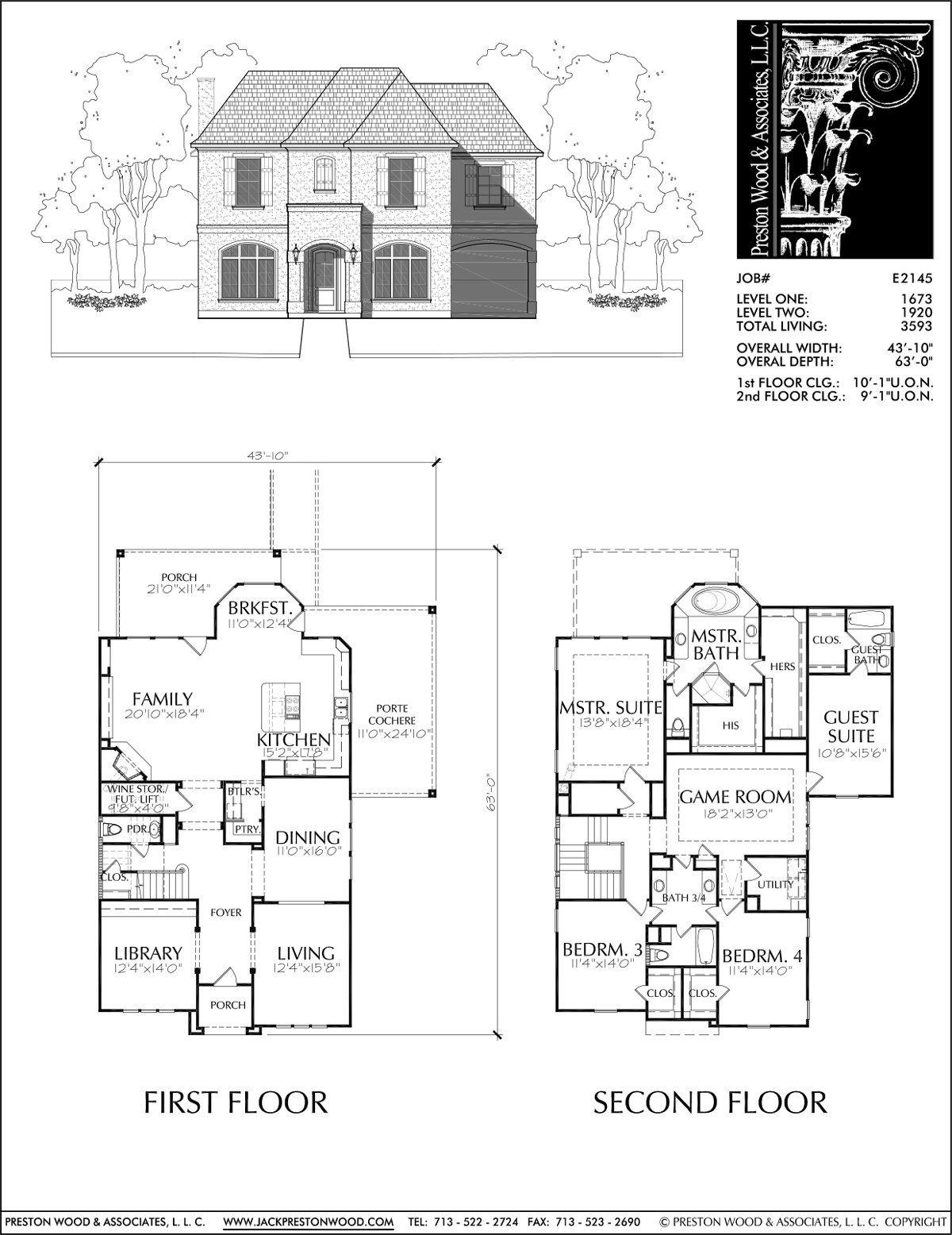 2 Story House Plan Residential Floor Plans Family Home Blueprints D Preston Wood Associates House Plans House Blueprints