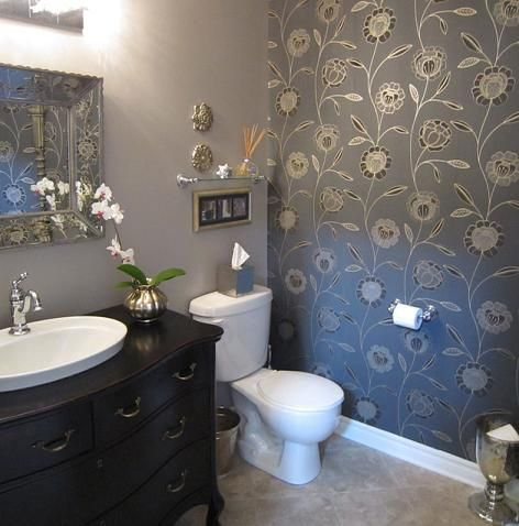 Wall Color Trends Unusual Accent Walls Hint It S Not Just About Color Powder Room Wallpaper Eclectic Bathroom Traditional Bathroom Designs