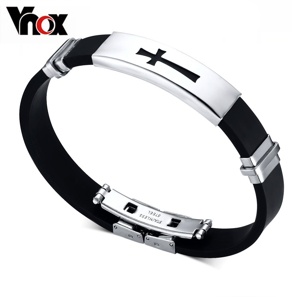 Silver plated silicone bracelet bangle stainless steel buckle id tag
