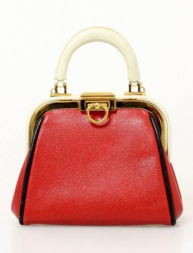 218307fcb3 Christian Dior Vintage Red, Cream & Black Pebbled Leather Gold Frame Handbag