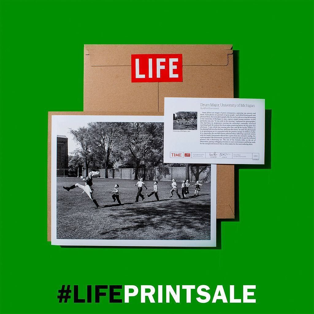 """Get an iconic LIFE photograph for 30% off at our print sale on Black Friday including this photograph of Drum Major University of Michigan by Alfred Eisenstaedt. #LIFEprintsale  Is This the Happiest Photo Ever Made? It's a question TIME asks in an article published last year. """"Eisenstaedt's classic image is one flirts with sentimentalitybut avoids that ignoble fate by virtue of its energy and its immediacy"""" he writes. """"This is not a depiction of manufactured emotion but a masterfully framed…"""
