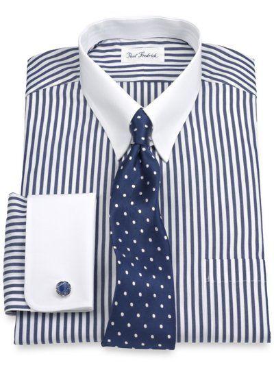 Luxury Cotton Bengal Stripe Tab Collar French Cuff Dress