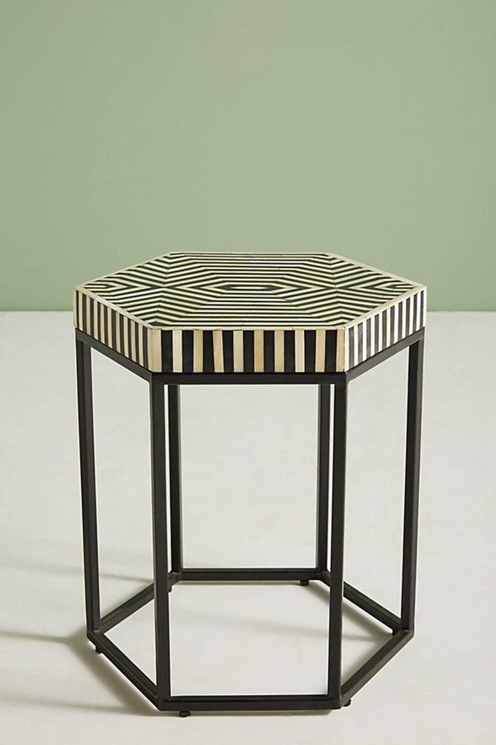 Bone Inlay Hexagonal Table Stripe Design In Black White Color
