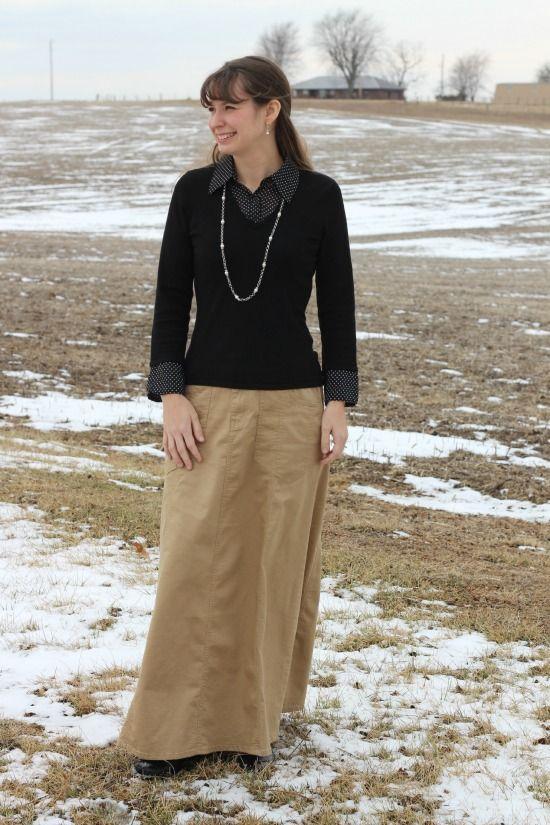 Khaki Skirt with Black Shirt | The Modest Mom Blog | The Beauty of ...