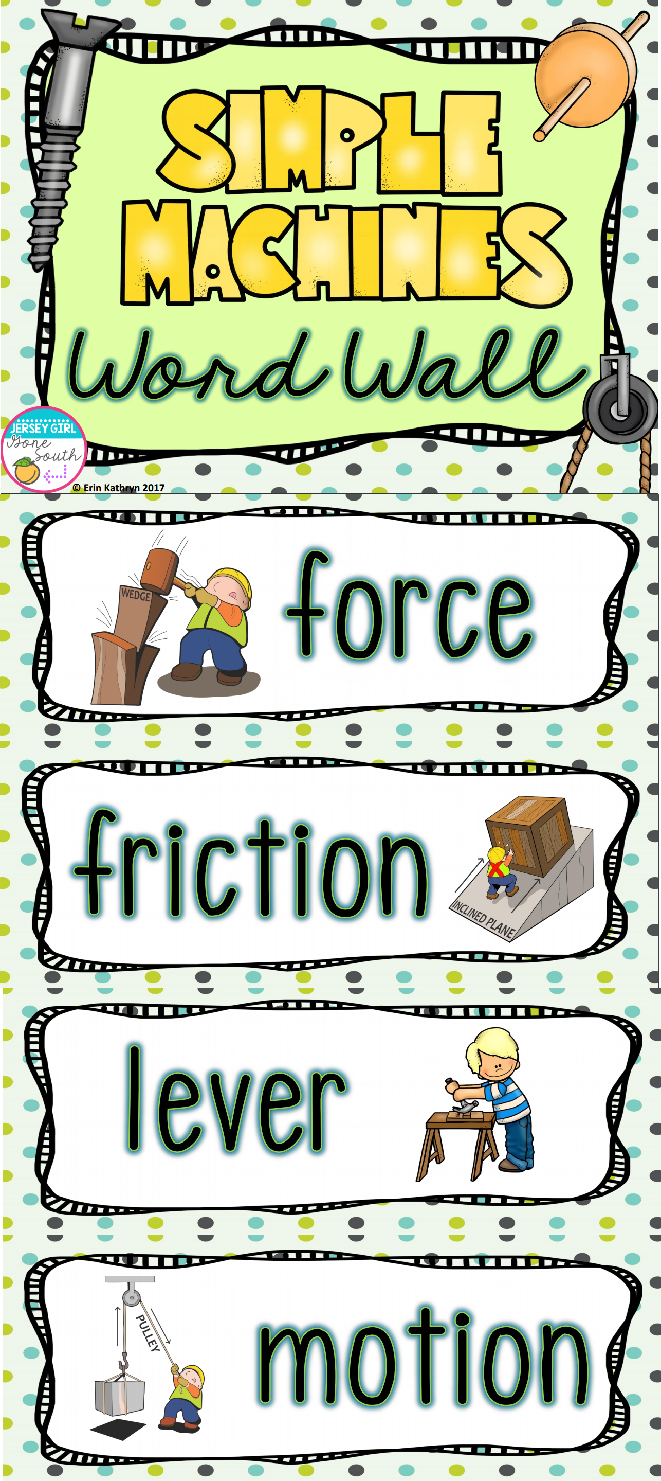 Simple Machines Vocabulary Word Wall With Images