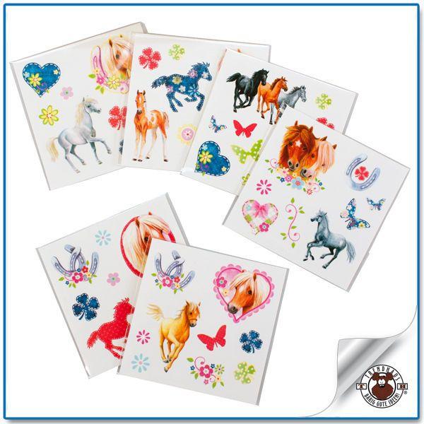 6x tattoos m dchen kinder pferd pony tattoo mitgebsel kindergeburtstag neu in spielzeug basteln. Black Bedroom Furniture Sets. Home Design Ideas