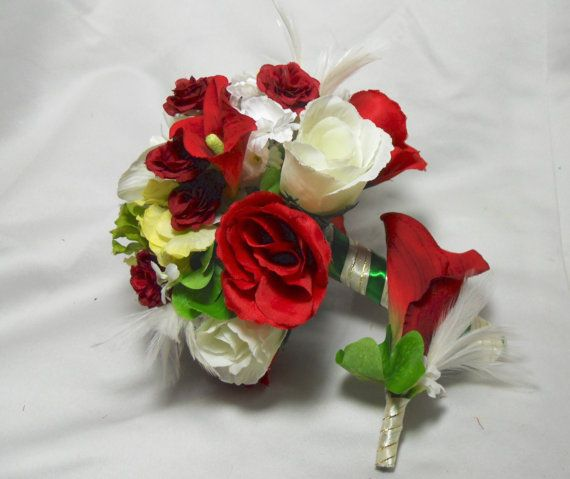Red Flower Bouquet For Christmas Wedding Bride by TheWeddingPetal, $129.95