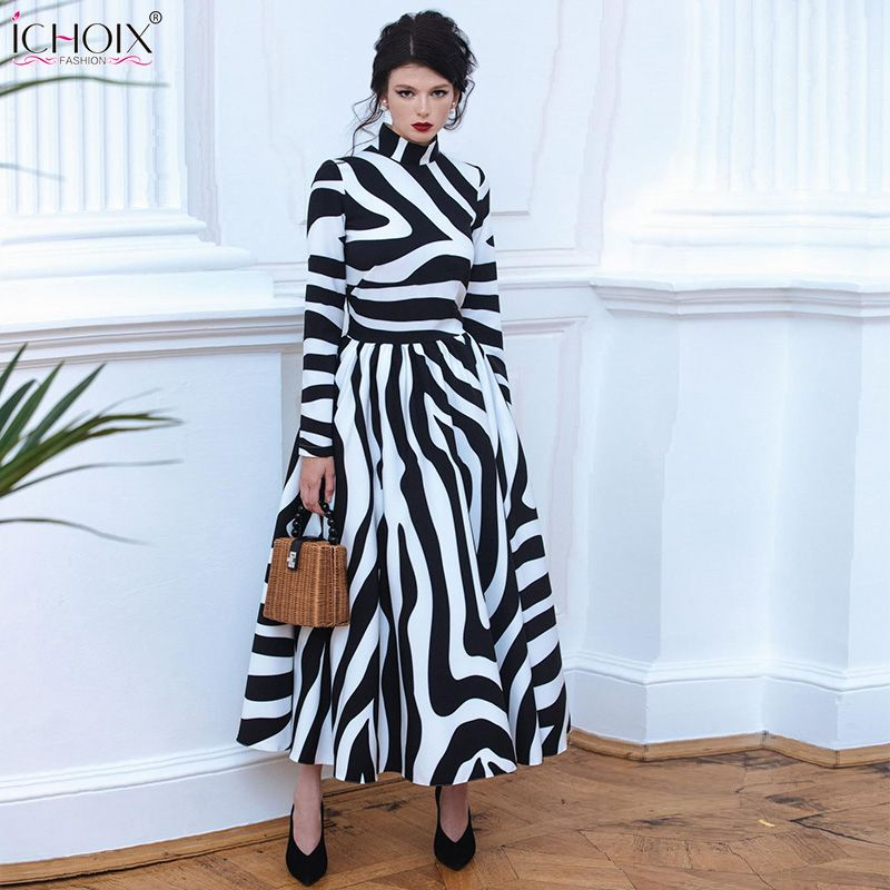 f39ecc6d1a8 2018 Autumn Elegant Long Dress Women Winter Striped Vintage Maxi Dresses  Zebra Print Female Office Dress Bodycon Party Vestidos