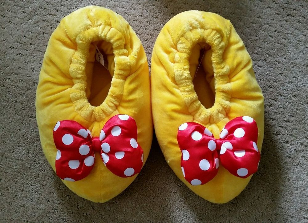199c656bda1 DISNEYLAND PARK S MINNIE MOUSE PLUSH HOUSE SLIPPERS SHOES ADULT - LARGE