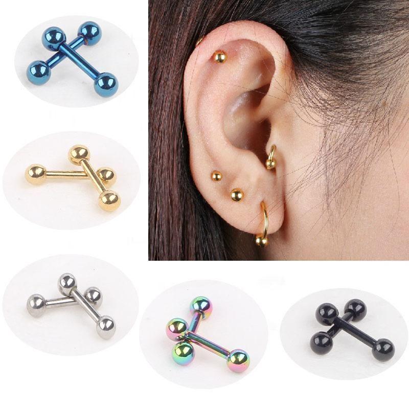 """2pcs.18G~1//4/"""" to 1//2/"""" Steel Barbell Eyebrow Helix//Cartilage//Tragus w//3mm balls"""