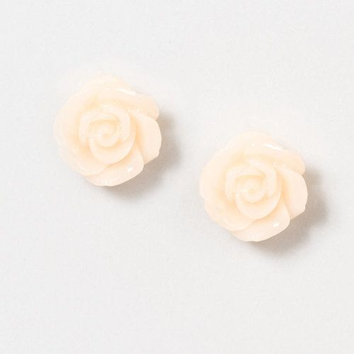 White Carved Rose Stud Earrings | Claire's $5.50