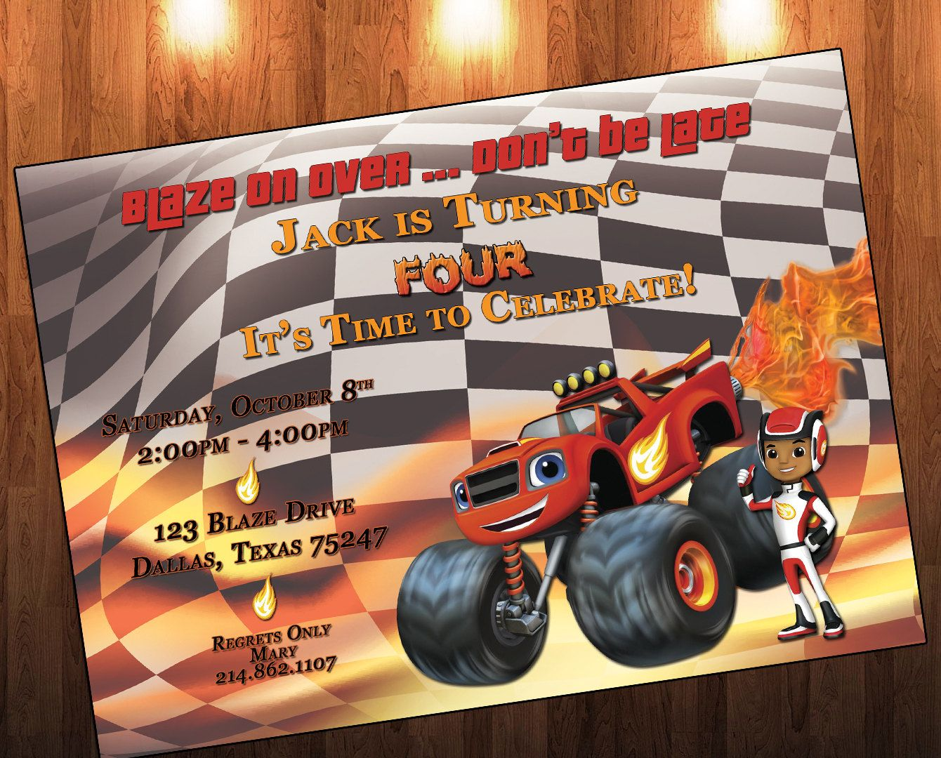 Blaze Birthday Invitations, Blaze and the Monster Machines, Birthday ...