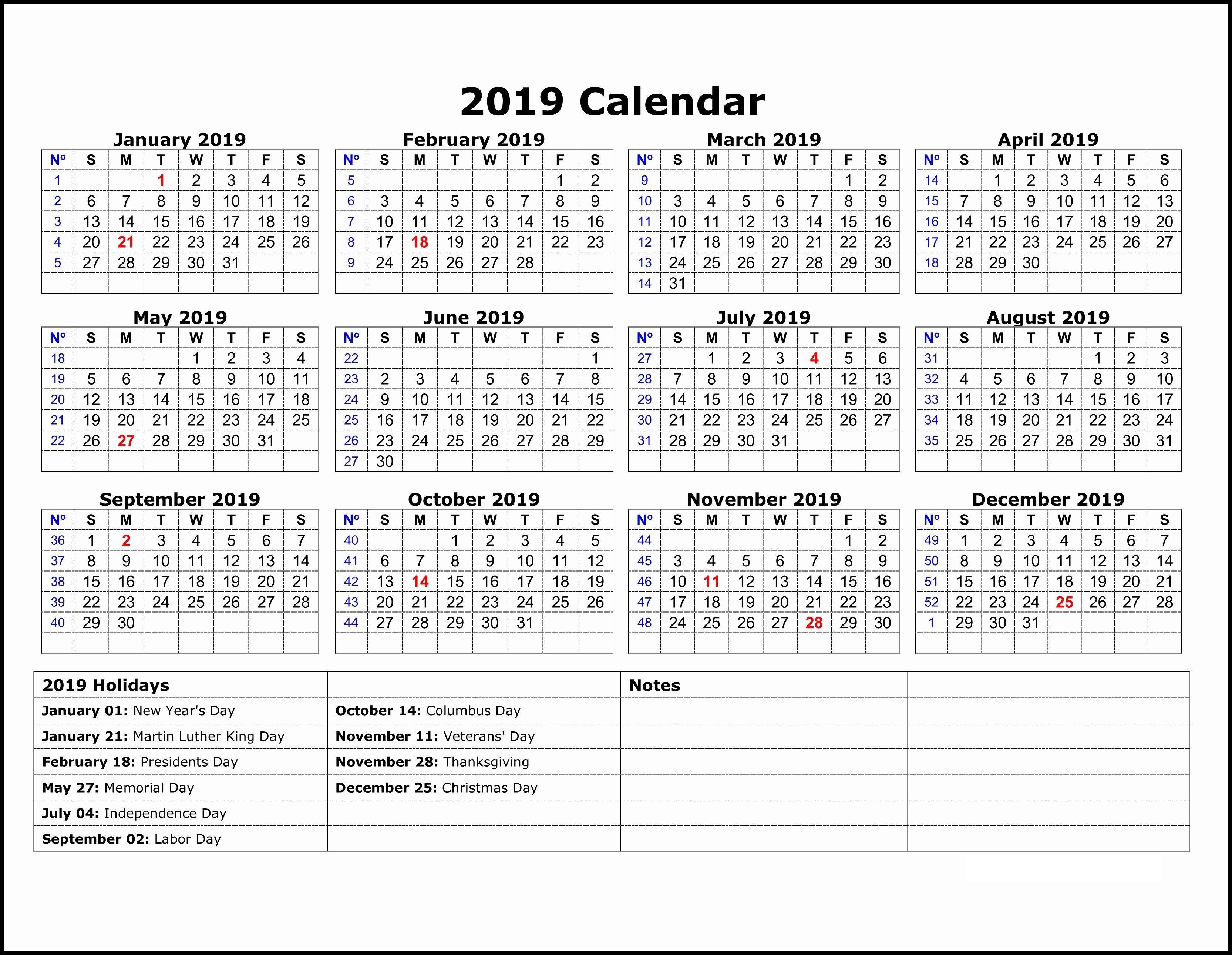 2019 Printable Calendar Holidays All
