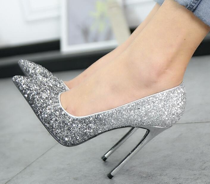 4fc558a49a7 Womens Sequins Pointed Toe Pumps Stilettos Bride Wedding High Heels Csual  Shoes