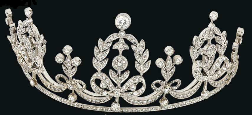 DIAMOND TIARA / COLAR Composto por uma série de brilhantes de corte coroas de louros diamante set-millegrain formados, cada um acompanhado por semelhante-definidos grinaldas Design Curva, intercalados com outros painéis folhados e botão espaçadores, levantados em uma linha de diamantes, com ...