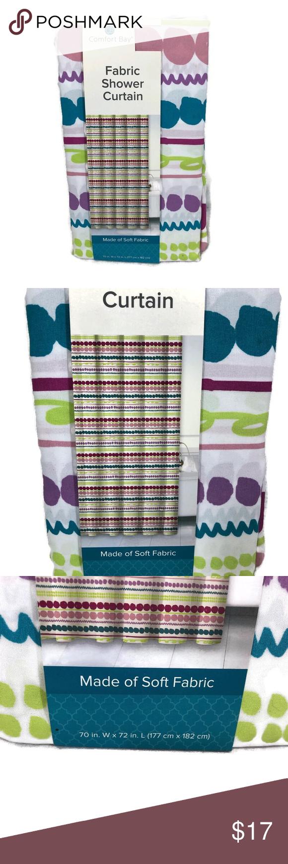 Brand New Comfort Bay Soft Fabric Shower Curtain Nwt Soft