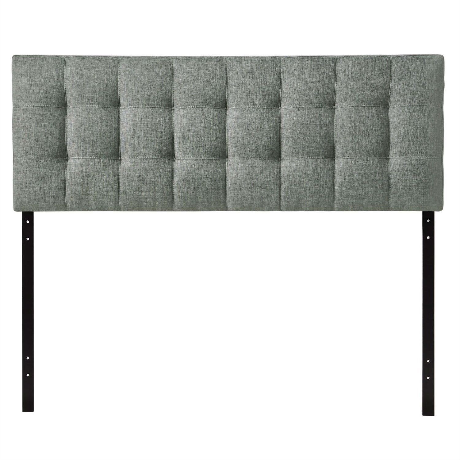king size grey fabric modern buttontufted upholstered headboard  - king size grey fabric modern buttontufted upholstered headboard