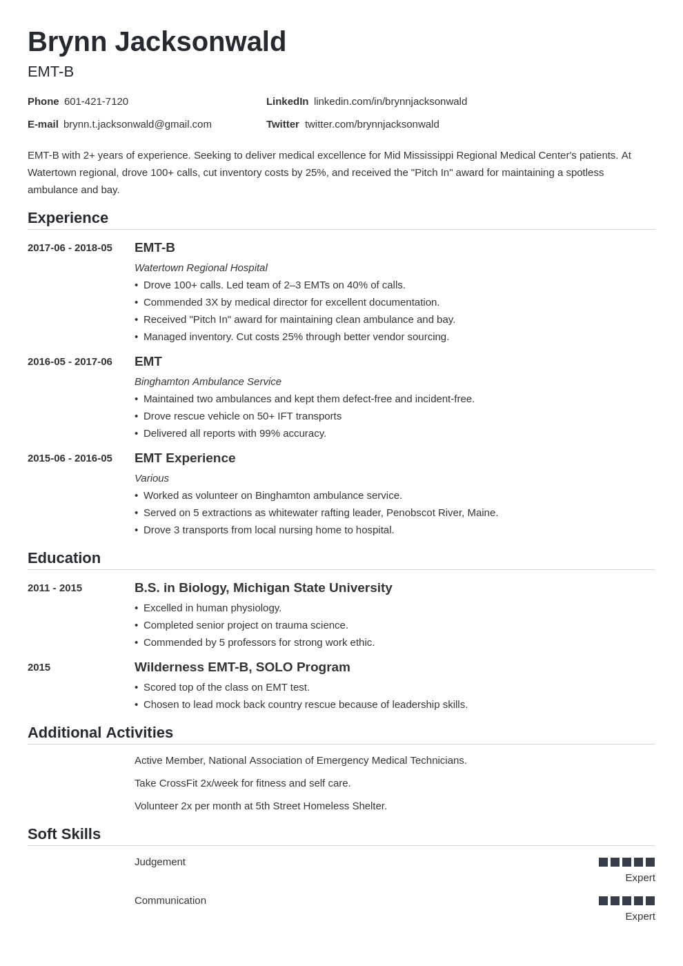 Emt Resume Example Template Nanica In 2020 Resume Examples Job Resume Examples Resume