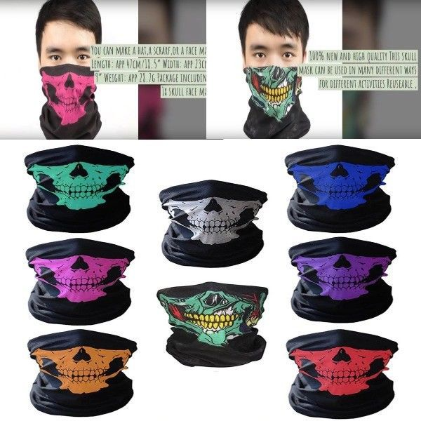 Cool Ski face Mask For Kids Boys Men Women Winter Skull Black 2 hole hat  Neck  0f59ec493