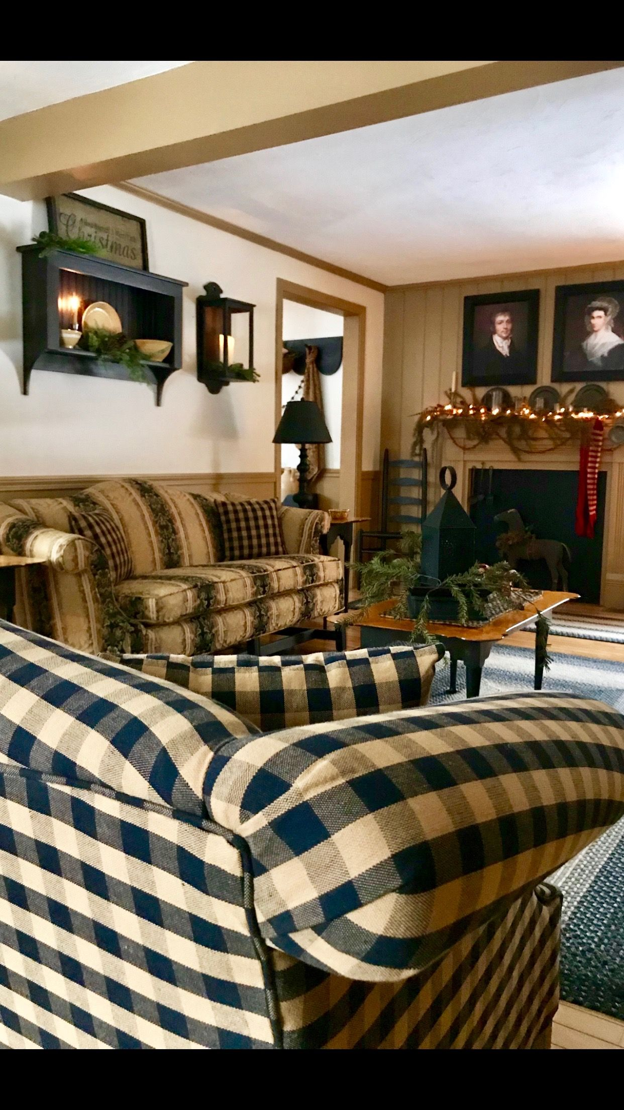 love the plaid couch  farm house living room primitive