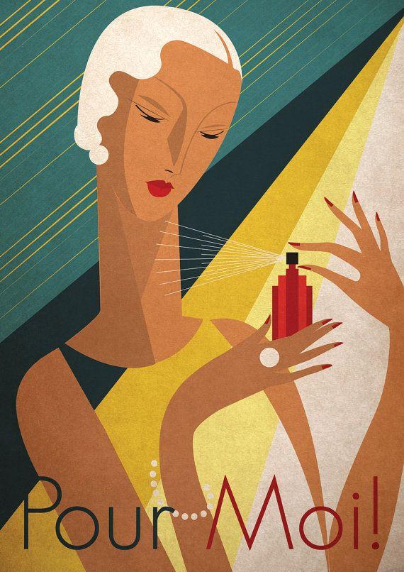 Perfume Themed Art Print By Kate Sampson Pour Moi Etsy Art Deco Posters Art Deco Posters Prints Art Deco Poster