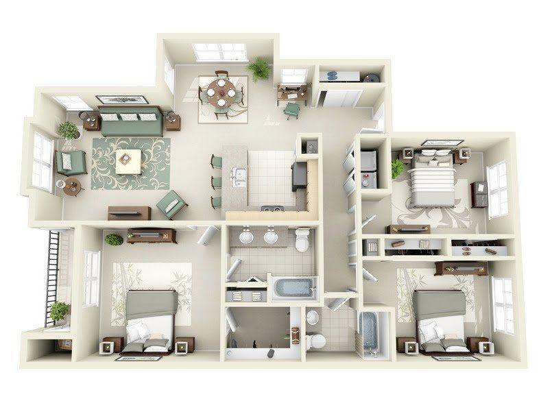 "50 Three ""3"" Bedroom Apartmenthouse Plans  Architecture & Design Amusing 3 Bedroom Apartment Design Inspiration"