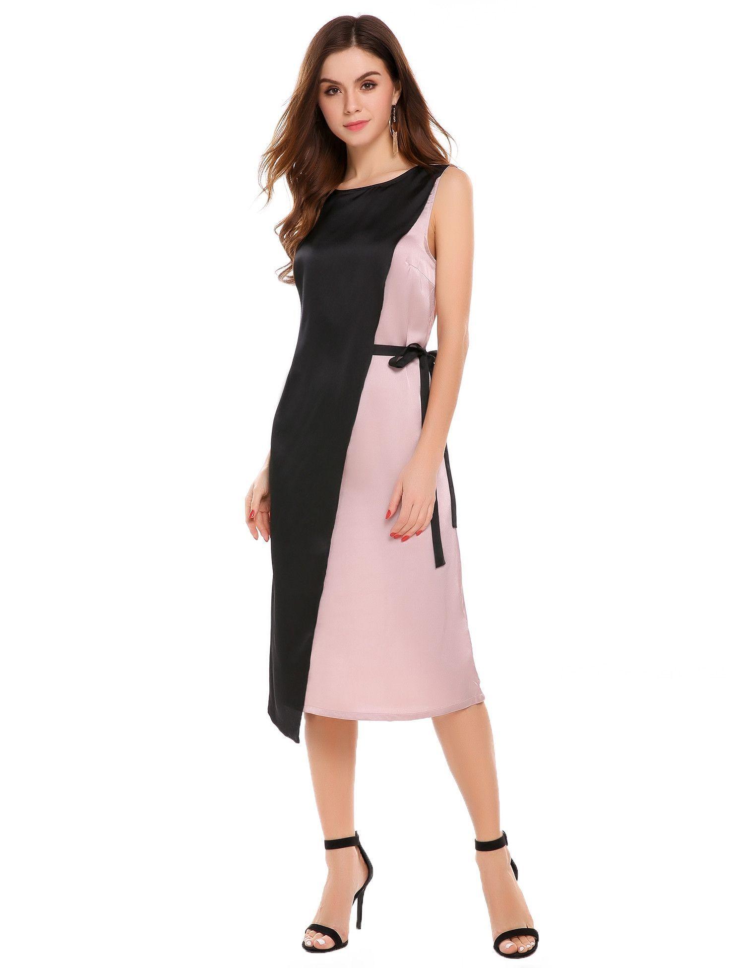 f51ea5e2d87c Silver O-Neck Sleeveless Contrast Color Loose Sheath Dress