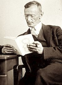 Hermann Hesse  (July 2, 1877– August 9, 1962) was a German-Swiss poet, novelist, and painter. In 1946, he received the Nobel Prize in Literature. His best-known works include Steppenwolf, Siddhartha, and The Glass Bead Game (also known as Magister Ludi), each of which explores an individual's search for authenticity, self-knowledge and spirituality