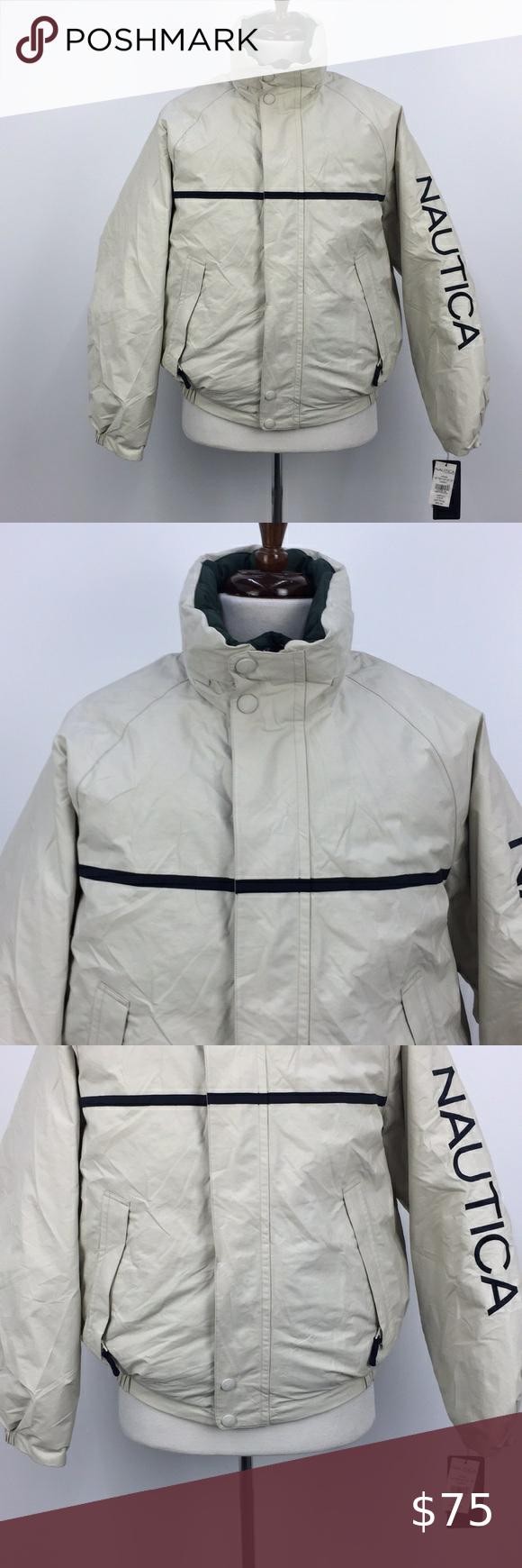 Nwt Nautica Cream Green Reversible Puffer Jacket Puffer Jackets Puffer Jackets [ 1740 x 580 Pixel ]
