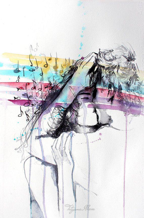 Peinture Aquarelle Originale Wall Art De Portrait De Couple Dans