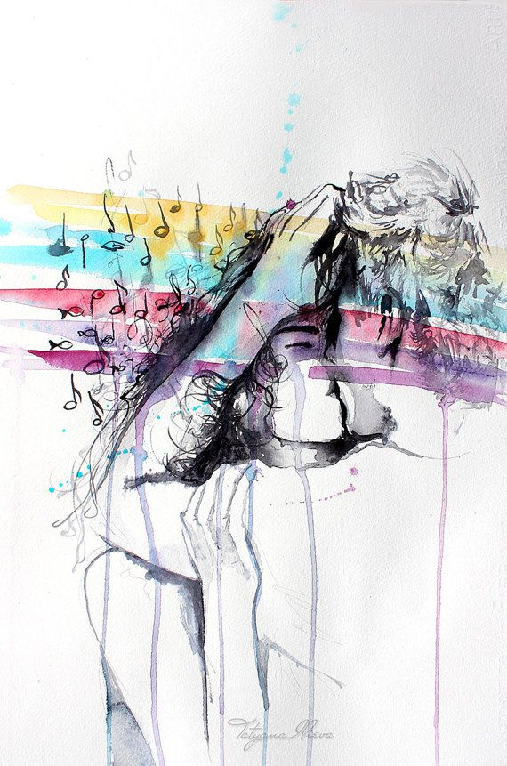 Original Watercolor Painting. Kiss Me . Couple by TatyanaIlieva