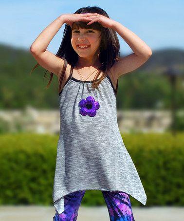Another great find on #zulily! Gray & Purple Jade Tunic - Toddler & Girls #zulilyfinds