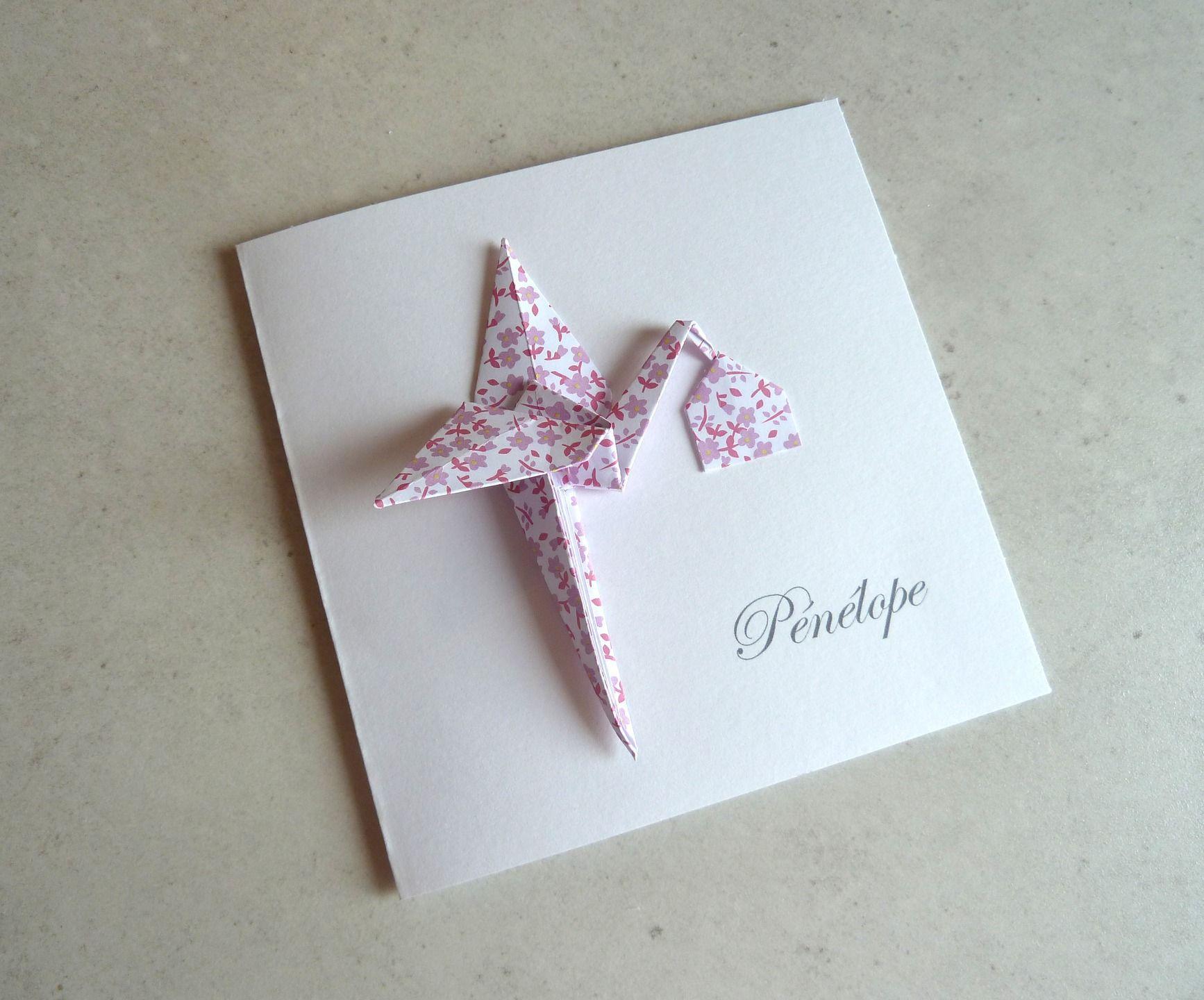 faire part de naissance cigogne en origami carte double papier motif liberty violet fait. Black Bedroom Furniture Sets. Home Design Ideas