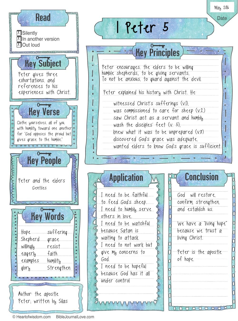 This Key Worksheet can be used for a Bible Chapter or passage ...