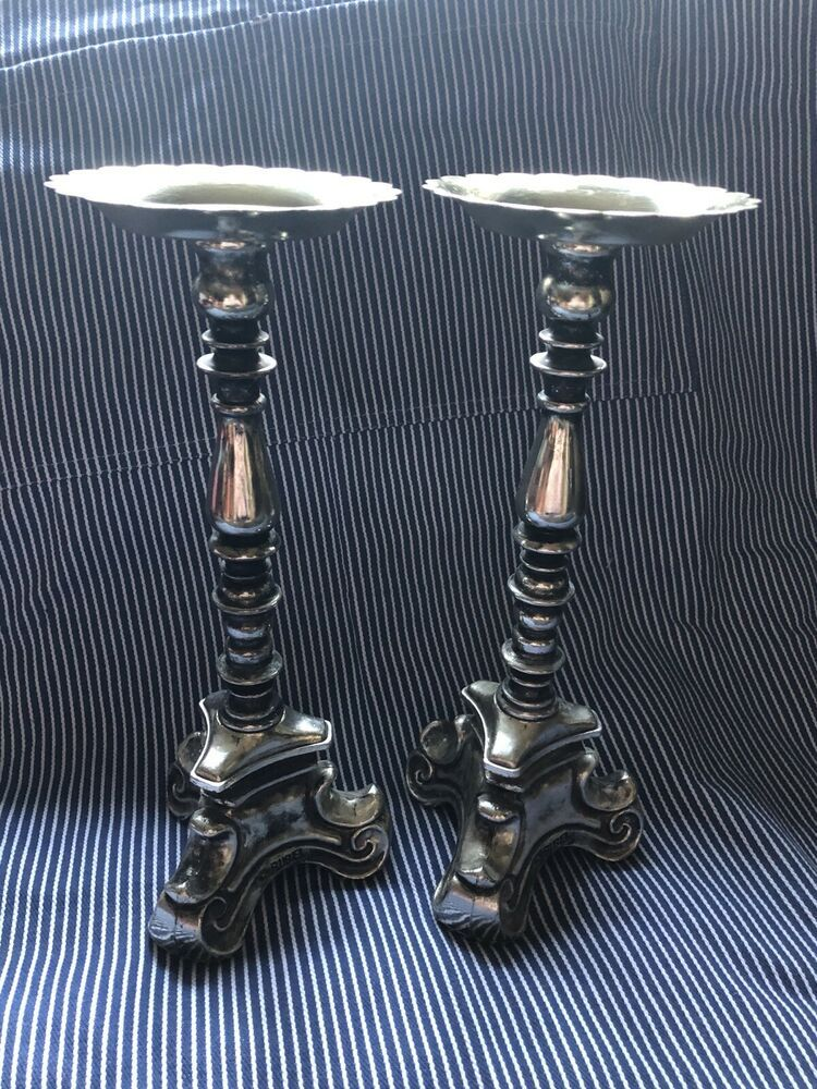 Lovely Pair Of 10 1 2 Vintage Silver Rubel Candlesticks Rubel